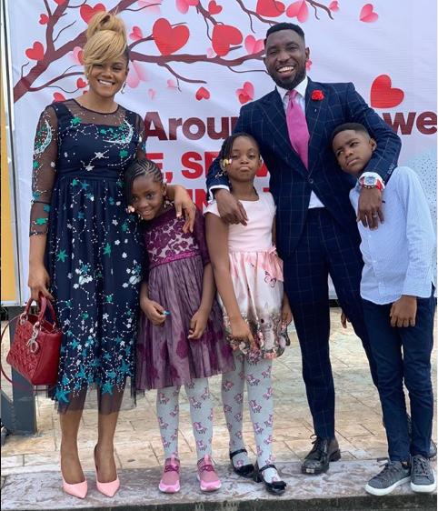 Beautiful family photo of Timi Dakolo, his wife and their three children