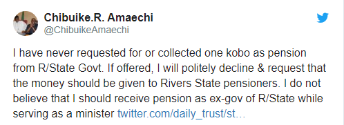 I?ve never collected a kobo in pension as ex-governor of Rivers State - Rotimi Amaechi
