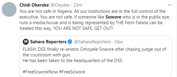Nigerians react to alleged re-arrest of publisher, Omoyele Sowore