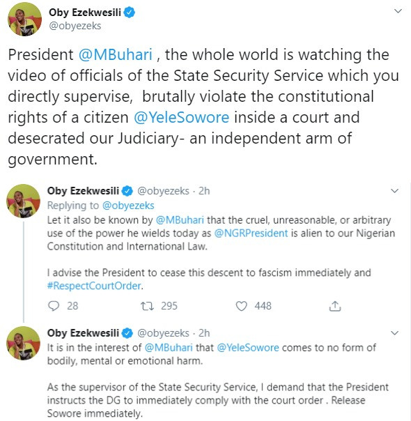 Buhari should instruct the DG to release Sowore immediately - Oby Ezekwesili, BankyW, react to Sowore?s rearrest
