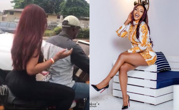 BBNaija 2019 winner, Mercy Eke spotted on a bike while heading to the airport earlier today (video)