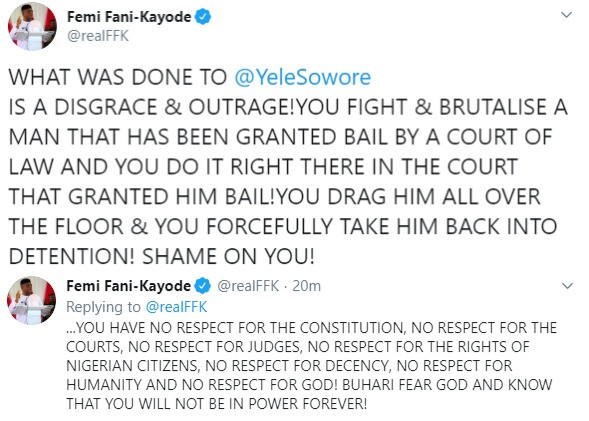 Buhari fear God and know that you will not be in power forever- FFK reacts to Sowore