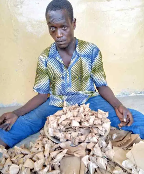 Photo: Ogun State Police arrest man with 300 wraps of Indian Hemp