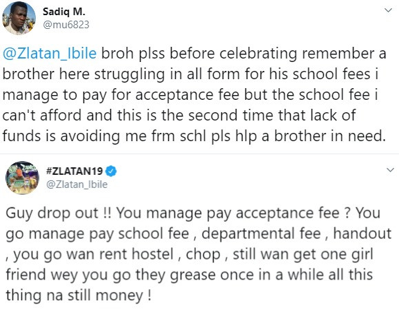 Nigerian man who begged Zlatan for money to pay his school fees
