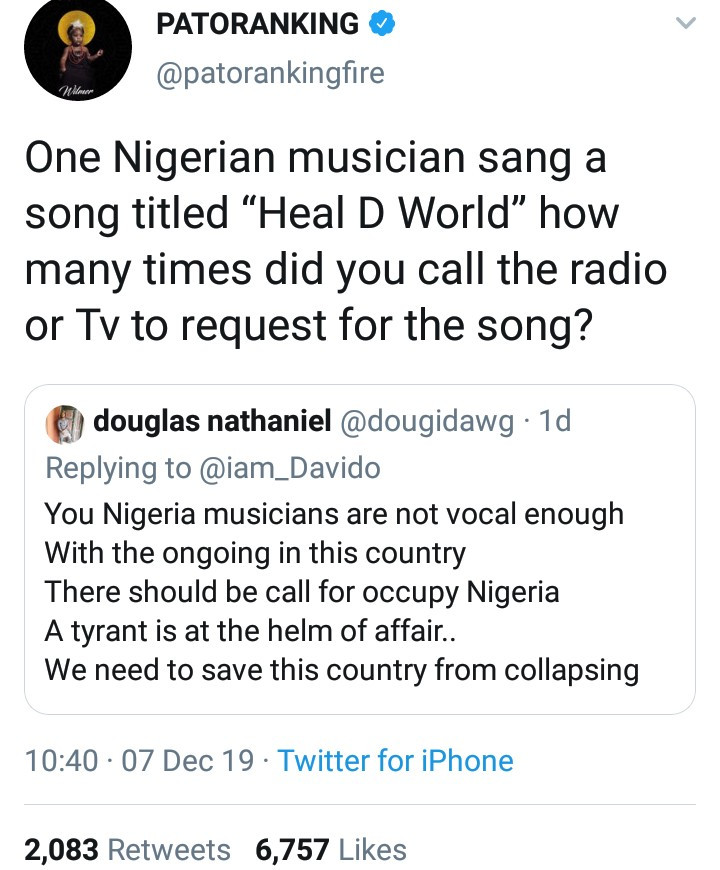 Patoranking responds to Twitter user who criticized Nigerian artistes for not using their platform to speak against the ills in society