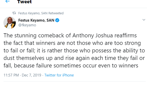 The stunning comeback of Anthony Joshua reaffirms the fact that winners are not those who are too strong to fail - Festus Keyamo