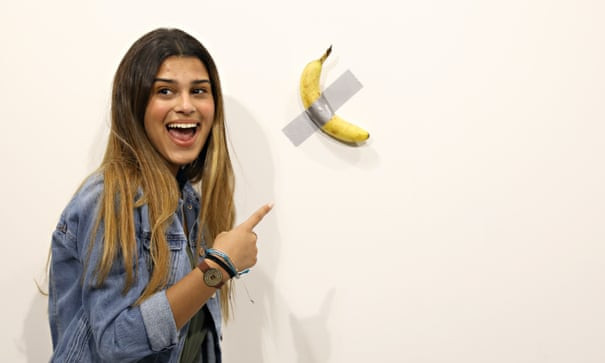 "Banana taped to wall sold for $120,000 at Miami art festival then a ""hungry artist"" eats it and calls it performance art...lol"