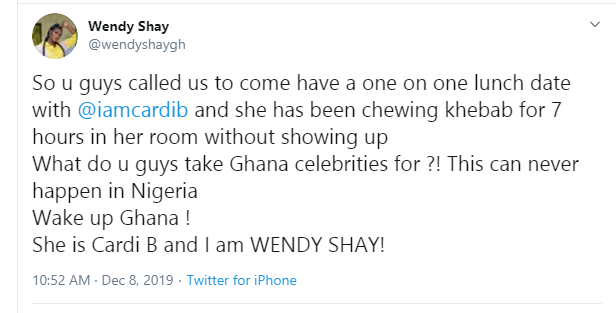 Cardi B apologizes for keeping Ghanaian celebrities waiting, says she was