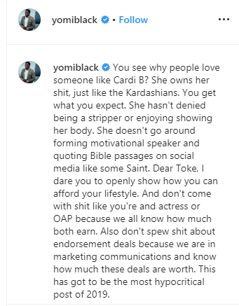 Yomi Black shares post questioning Toke Makinwa
