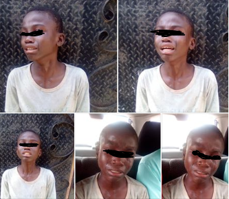 Photos: Little boy weeps after he was innocently used to perpetrate fraud in Lagos
