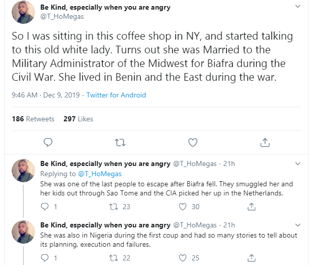 Man shares encounter with wife of a Biafran Army General who got left behind after an escape plane arrived because he was with his girlfriend