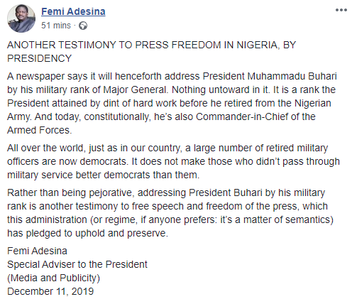 Calling Buhari ?major general? is proof of press freedom - Femi Adesina further reacts to Punch Editorial