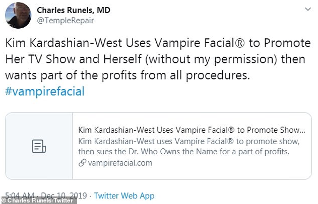 Kim Kardashian sues doctor for using her name to promote vampire facials