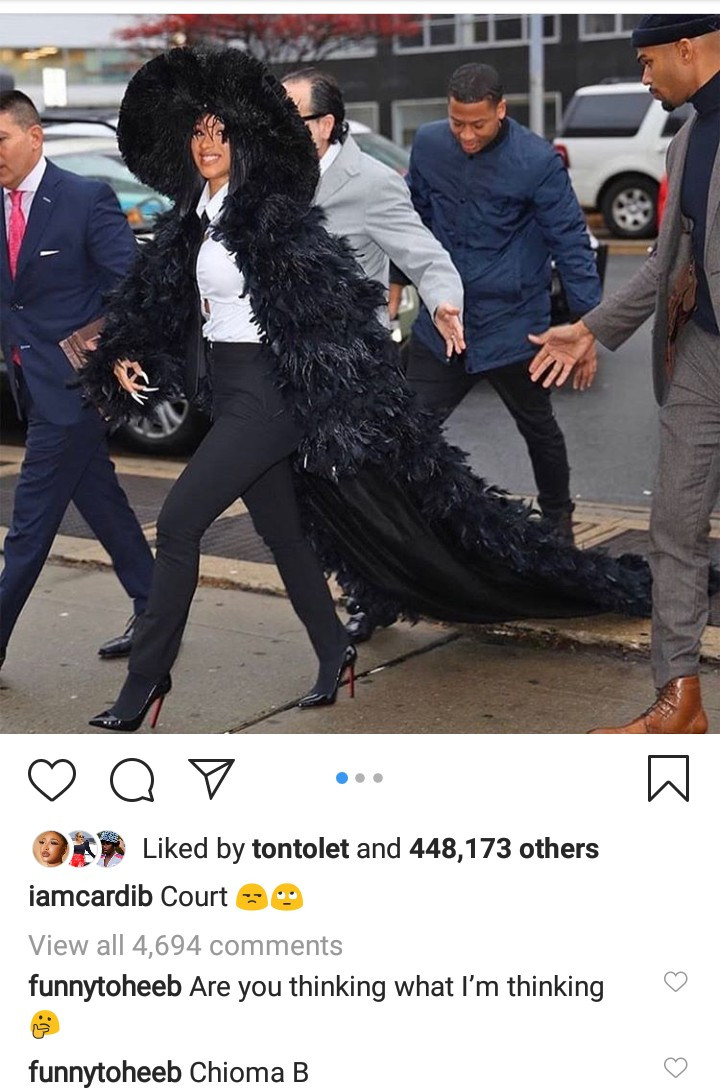 Cardi B arrives court in stylish feather coat over strip club brawl allegations