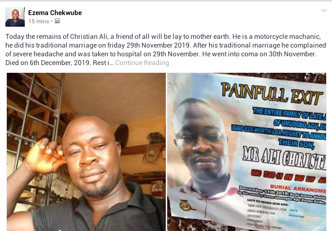 Nigerian man slips into coma a day after his wedding, dies 6 days later