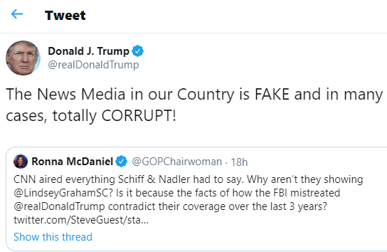 Impeachment: The news media is fake and in many cases, totally corrupt - Donald Trump