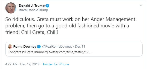 President Trump refers to 16-year-old Greta Thunberg as a