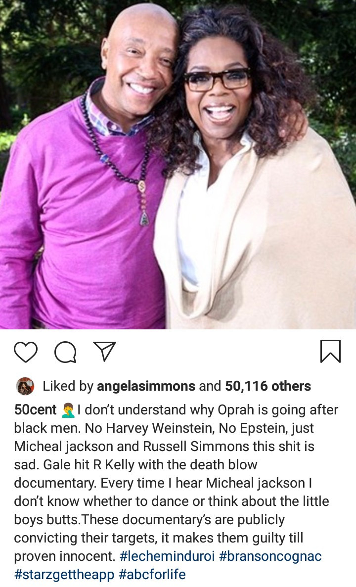 50 Cent accuses Oprah Winfrey of going after only Black men accused of sexual assault while being lenient with the White men