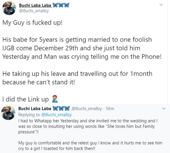 Twitter stories: Nigerian man breaks down in tears after his girlfriend of 5 years told him she is getting married to an abroad returnee this December