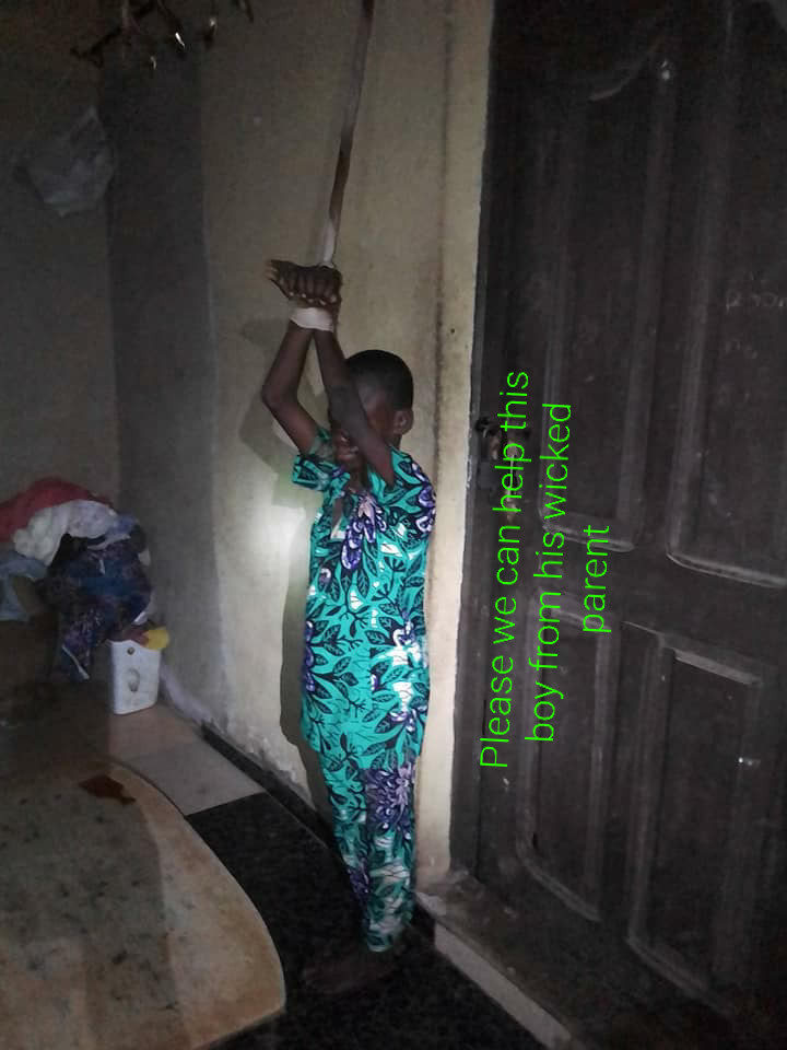 Boy tied to ceiling by his parents, pepper poured on his face (photos)