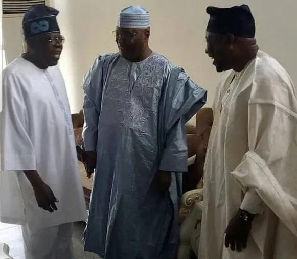 Photo: Bola Tinubu and Atiku Abubakar meet at Nnamdi Azikiwe International Airport, Abuja
