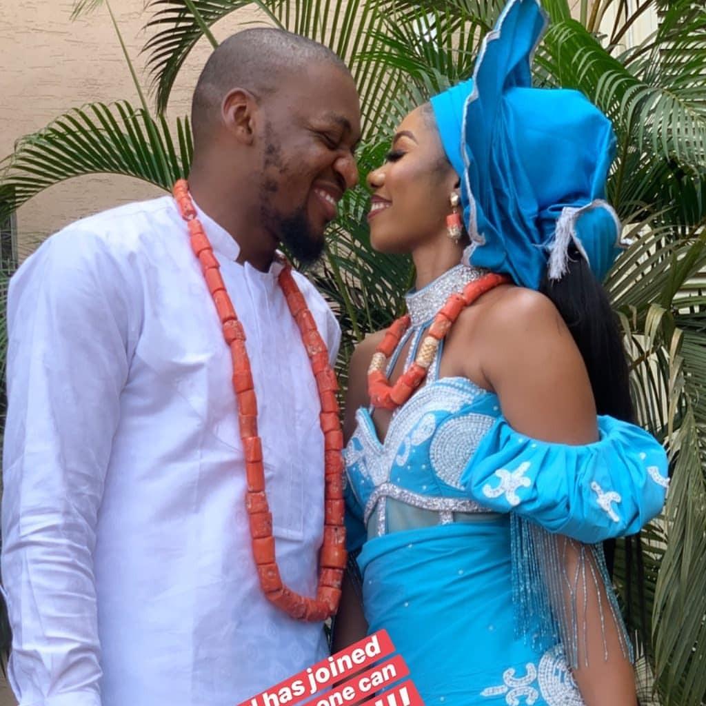 Photos/Video: Instagram dancer, Jane Mena twerks on her hubby at their traditional wedding in Delta