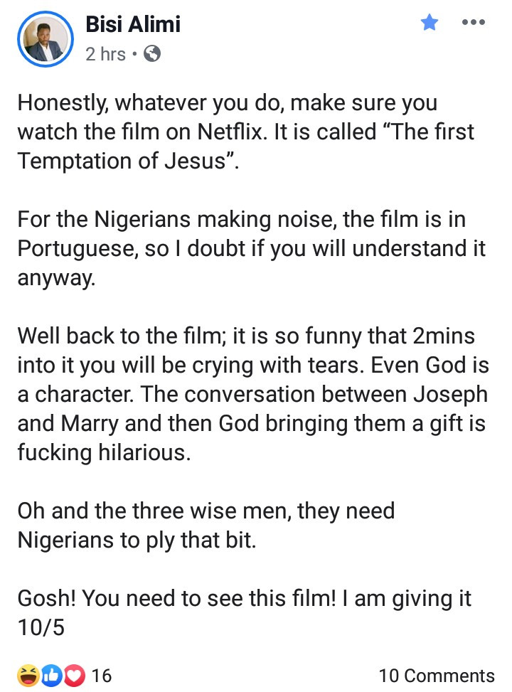 Bisi Alimi shades Nigerians as he reacts to the controversial Netflix movie that portrays Jesus as a gay man