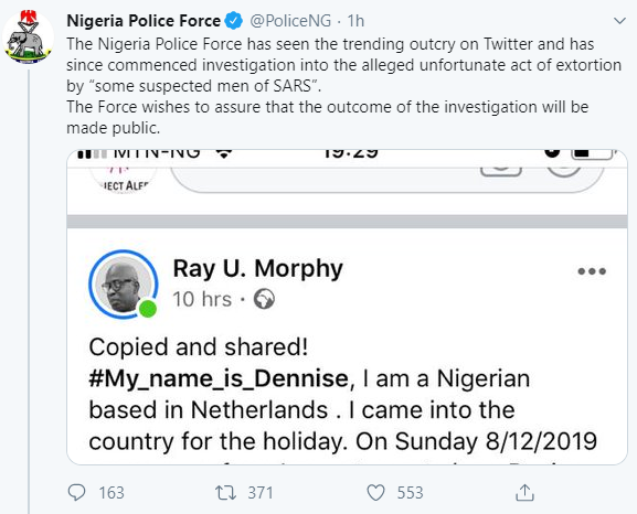 Nigerian police reacts as Netherlands-based Nigeria, who returned for the holidays, accuses SARS of extortion