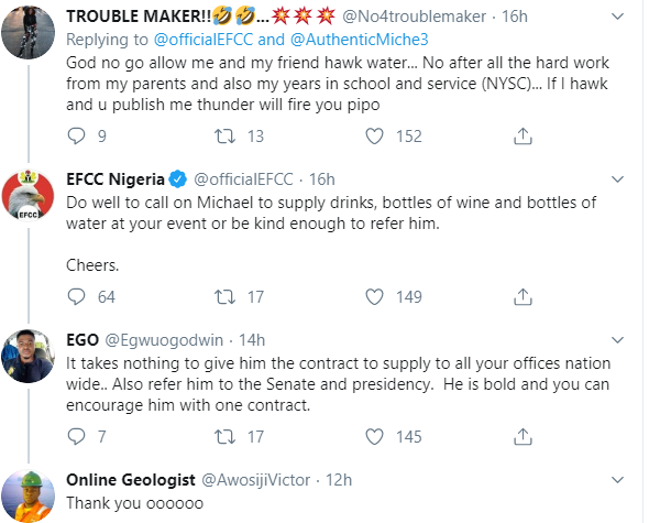 Nigerians drags EFCC for celebrating Nigerian youth who dresses in corporate attire to sell water