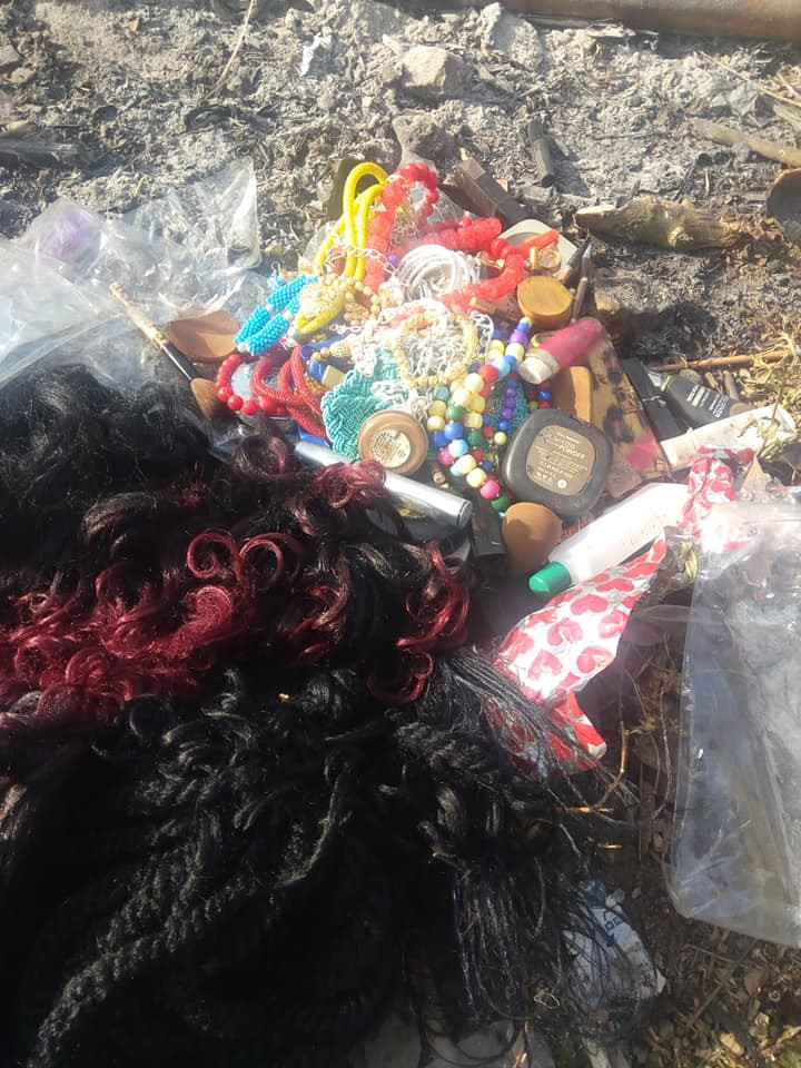 Nigerian lady burns her wigs, makeup kit and clothes after giving her life to Christ (photos)