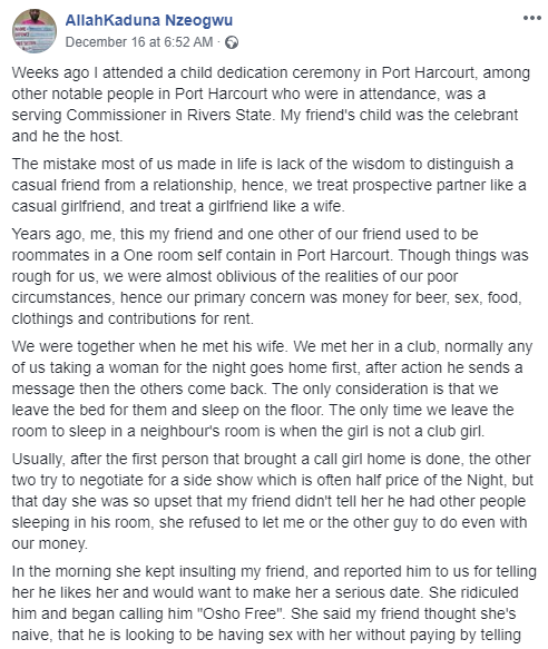 Nigerian man narrates how a prostitute changed his life and that of his friends