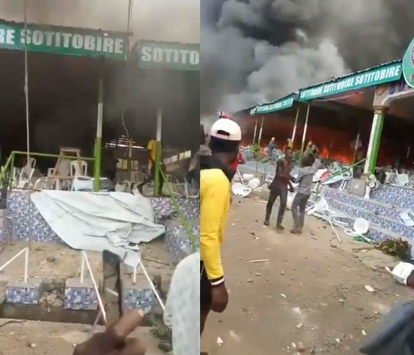 Angry youths set church in Ondo ablaze following rumors a missing baby was found buried at the altar (photos/video)