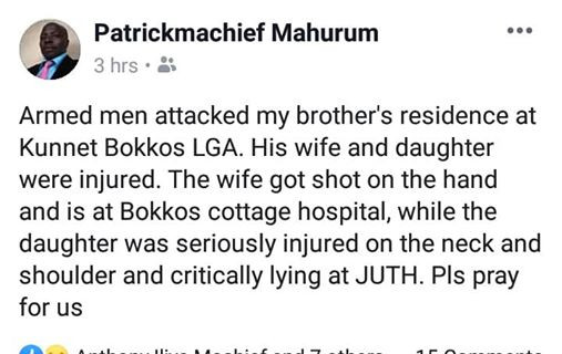 Toddler allegedly dies, mother injured after being shot by unknown gunmen at home in Plateau state