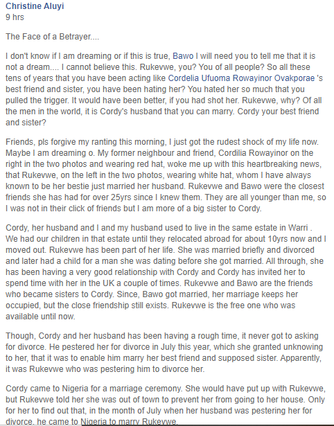 """""""God save us from enemies that call us friends"""" - Woman finds out that her best friend of over 25 years married her husband"""