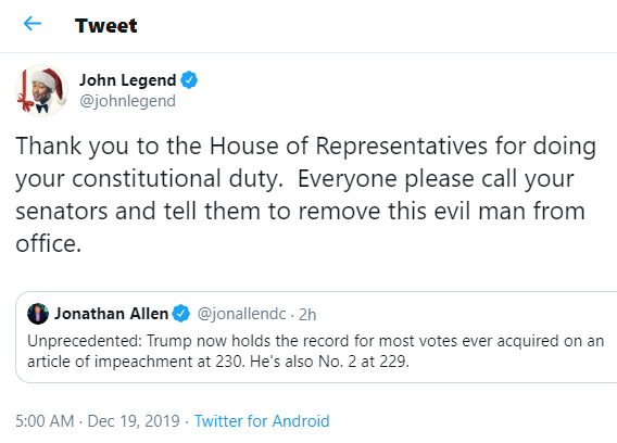 Everyone please call your senators and tell them to remove this evil man from office - John Legend reacts to Trump
