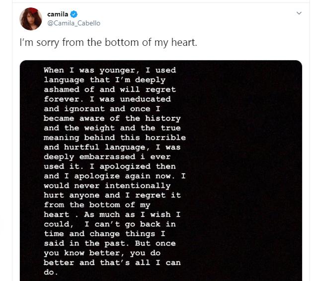 Camilla Cabello apologizes for racist posts
