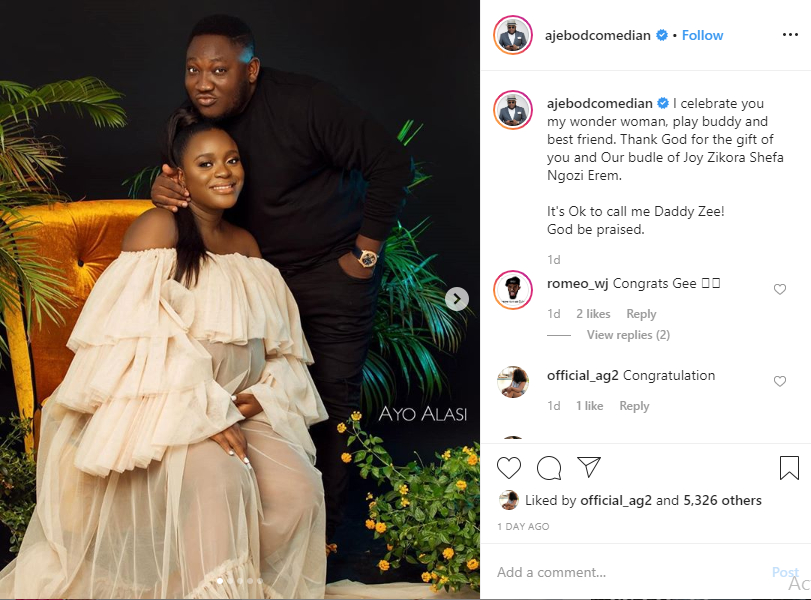 Comedian Ajebo welcomes a baby girl with his wife, Uchechi