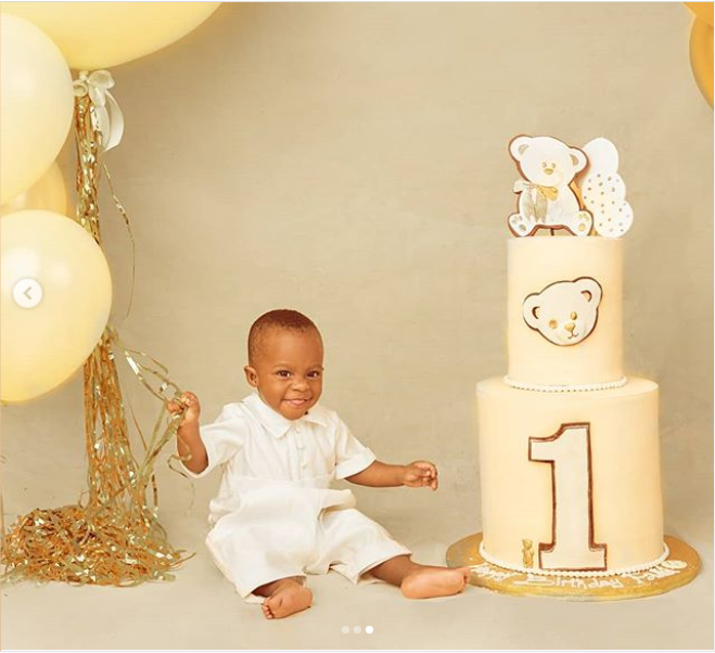 Nollywood actor Femi Adebayo celebrates his son Fadhil as he clocks one today (photos)