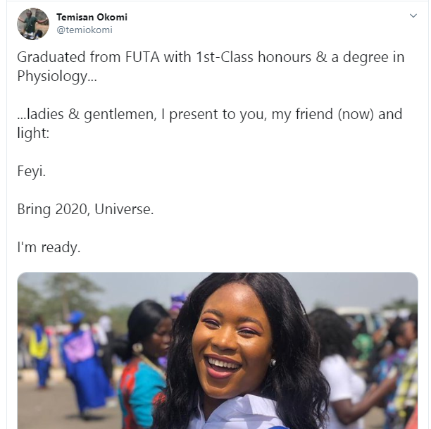 Former waitress graduates with a first class after media personality, Temisan Okomi paid for her SSCE and JAMB