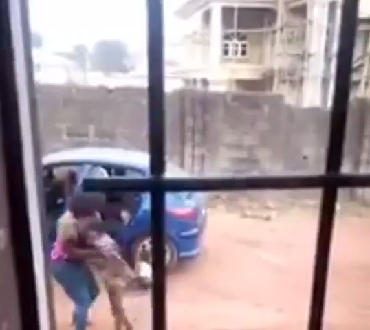 Shocking moment woman lifts her maid up and slams her to the ground (video)