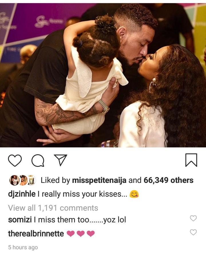 """""""I miss your kisses"""" DJ Zinhle says as she and AKA share a kiss"""