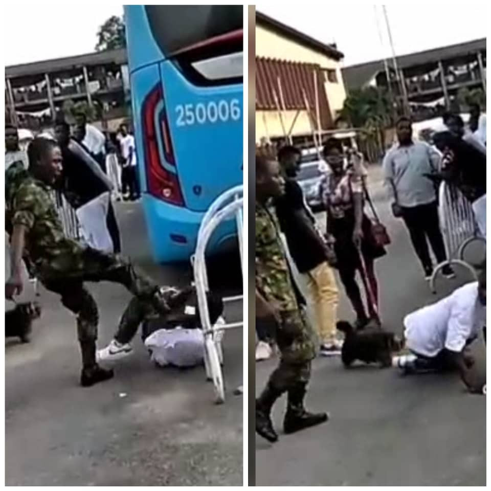 Soldier assaults boy for wearing camoflage trouser to an event in Lagos (video)