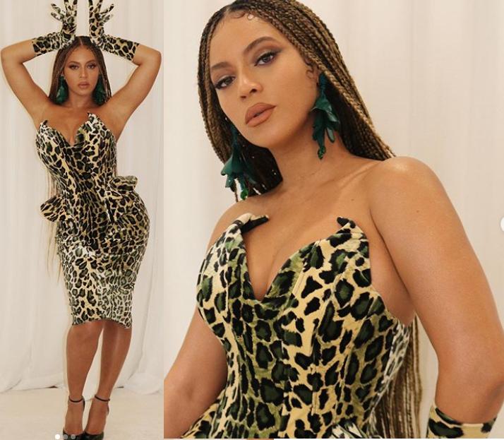 Beyonce stuns in leopard-print dress (Photos)