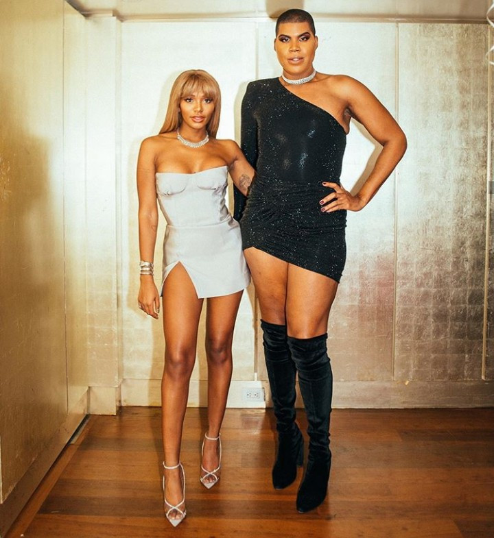 EJ Johnson dons a monostrap mini dress and knee-high boot in photo shared to wish his sister a happy birthday