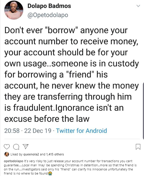 Dolapo Badmus warns Nigerians against supplying friends with their account number to receive money