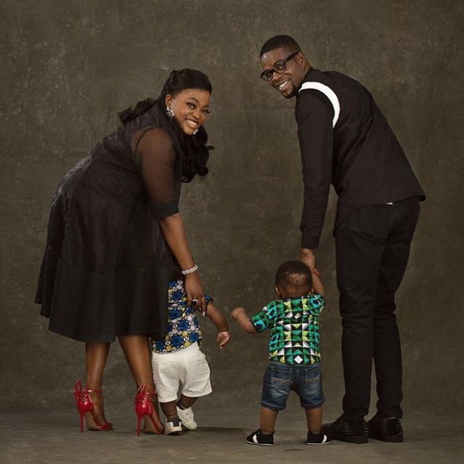 'Forward forever- backward never' - JJC Skillz says as he shares lovely family photo with Funke Akindele and their twins