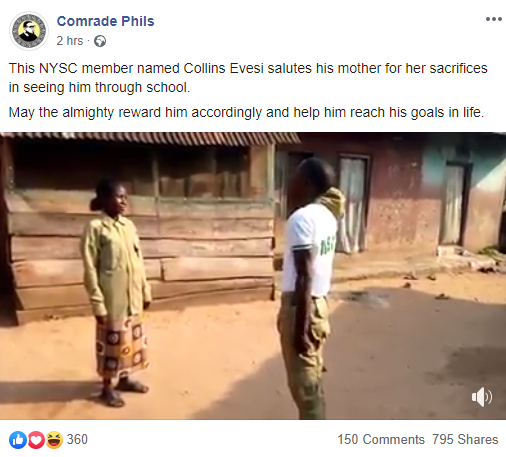 Video: Corps Member Honours Mother With Parade In Gratitude For Putting Him  Through School