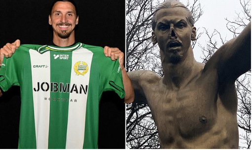Vandals cut the nose off Zlatan Ibrahimovic statue outside his boyhood club Malmo after he bought stake in rival club Hammarby (Photos)