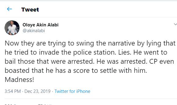 Madness, police commissioner?boasted that he has a score to settle with Shina Peller - Akin Alabi