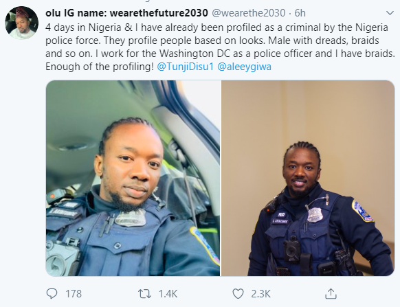"""""""4 days in Nigeria & I have already been profiled as a criminal by the Nigeria police force because I have braids"""" Washington DC Police officer laments"""